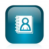 address book blue glossy internet icon