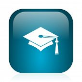 education blue glossy internet icon