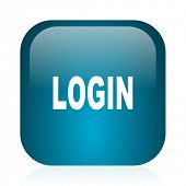 login blue glossy internet icon
