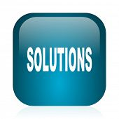 solutions blue glossy internet icon