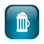 beer blue glossy internet icon
