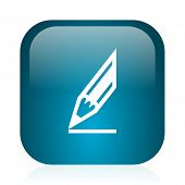 pencil blue glossy internet icon