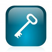 key blue glossy internet icon