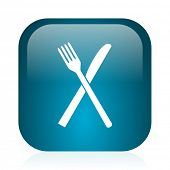 restaurant blue glossy internet icon