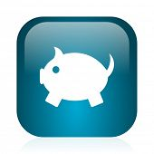 piggy bank blue glossy internet icon