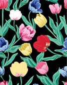 tulips pattern on the dark background