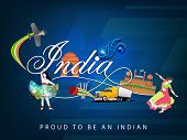 Cultural view of Republic of India with famous monuments, traditional dance and transportation and s