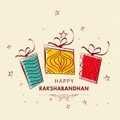 Raksha Bandhan celebrations greeting card with colorful gift boxes on stars decorated beige backgrou