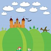 landscape with castle wizard, Cartoon Dragon, bats and blue sky with clouds. vector