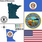 Map Of State Minnesota, Usa
