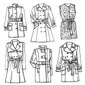 Outline Sketchy clothing.Females coat set