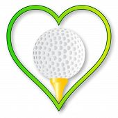 stock photo of dimples  - A golf ball and tee set into a heart over a white background - JPG