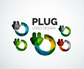 Abstract company logo design elemnet - plug icon
