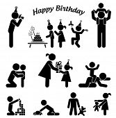 Childhood vector set. Pictogram icon set. Children birthday party.