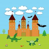 Card With Castle, fairytale landscape with dragons and bats. vector