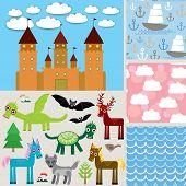 Set 3 seamless background. Castle,  Fabulous animals. vector