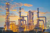 image of refinery  - Oil refinery factory with sky background at twilight - JPG
