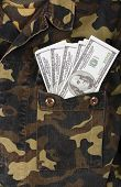 Army Uniform Pocket With Dollars