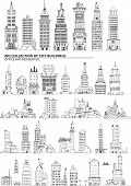 City buildings set, Sketch collection
