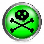 picture of chemical weapon  - Skull and bones danger sign button on white background - JPG