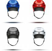 Set of Classic  Ice Hockey Helmets. Vector