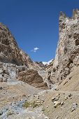foto of ravines  - River In Ravine Of Huge Mountains of Himalaya - JPG