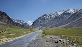 foto of manali-leh road  - Road In High Mountain Valley in Himalayas - JPG