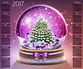 Calendar With Christmas Snow Glass Crystal Ball On 2017 In Vector