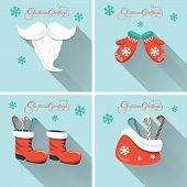 Christmas elements on blue background with long shadow. Design for Christmas holidays.