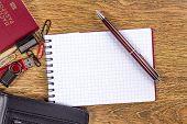 open notebook on desktop background