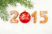 Date New Year Of 2015 Homemade On Snow With Fir With Red Bauble