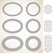 Ornamental floral round and oval frames Vector set
