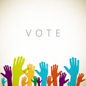 foto of voting  - warm colorful up hands logo - JPG