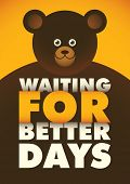 Poster with comic bear. Vector illustration.