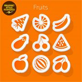 Vector set of fresh and colorful sticker icons of fruits and vegetables. File contains graphic styles available in Illustrator