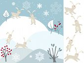 picture of rabbit year  - Greeting card with winter landscape and rabbits - JPG