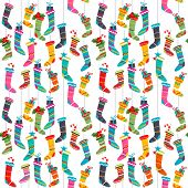 Seamless pattern with bright  Santa socks