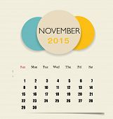 2015 calendar, monthly calendar template for November. Vector illustration.