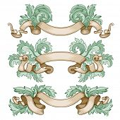 Vintage hand drawn ribbons, vector illustration. Copy space for your text.
