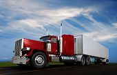 image of 18-wheeler  - A stock photo of An 18 wheeler Semi - JPG