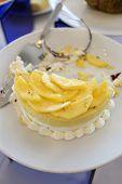 Banana Fruit Cake In White Dish.