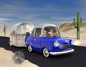 stock photo of road trip  - A cartoon Image of a couple driving in the desert towing a camper trailer - JPG
