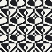 Abstract Circle, Triangle and Square Pattern. Vector Seamless Monochrome Background. Regular Geometric Texture