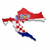 detailed illustration of a map of Croatia with flag, eps10 vector