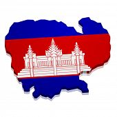 detailed illustration of a map of Cambodia with flag, eps10 vector