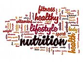 Concept or conceptual abstract nutritiona and health word cloud or wordcloud on white background