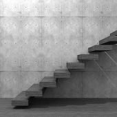 Concept or conceptual wood or wooden stair or steps near a wall background on  floor