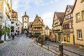 Famous Old Town Of Rothenburg With Tourists