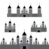 black castle on white background. Vector  architecture design