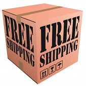 free shipping or delivery of cardboard box package